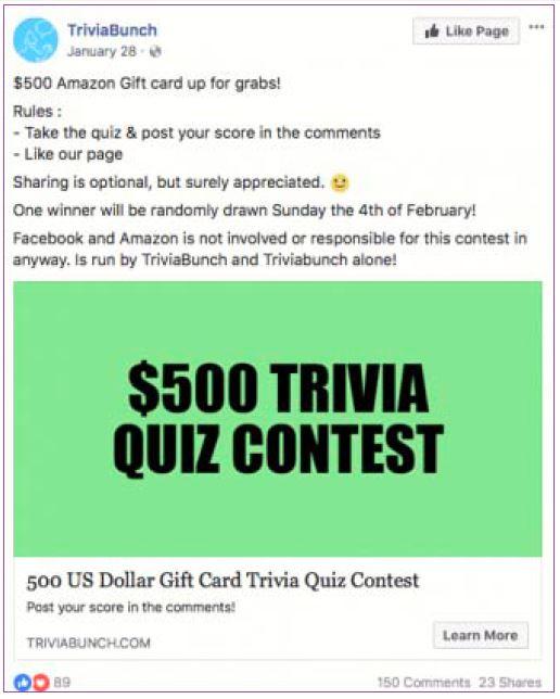Best Facebook Contest with Trivia Quiz