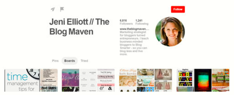 this is an example of well set up pinterest page or profile